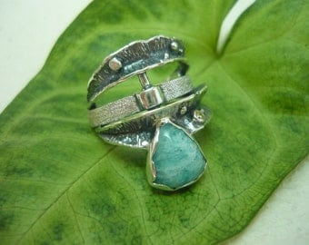 Impressive women's silver ring, handmade, 925 sterling silver, gemstone, Amazonite, handcrafted jewelry