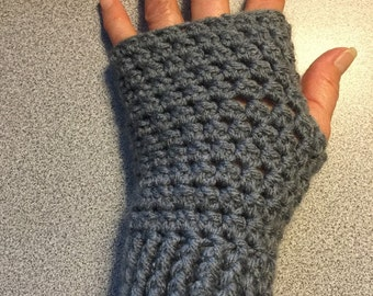 Crochet Fingerless Gloves, Pewter/Grey Fingerles Mittens, Crochet Fingerless Mittens,Arm Warmers/Wrist Warmers,Womens/Teen/ FREE SHIPPING