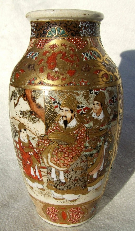 Antike Japanische Satsuma Keramik Vase 1880 Der Meiji Zeit