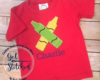 Back To School Crayon Applique Embroider T Shirt