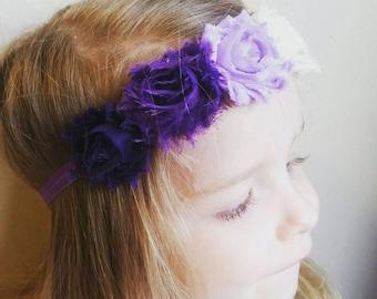 Purple Ombre Flower Crown, Purple floral crown, Violet Shabby Chic Flower Crown Headband, Baby Headband, First Birthday, Violet headband