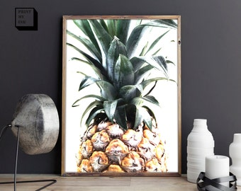 Pineapple Print, Tropical print, Pineapple printable, Pineapple Wall Art, Pineapple poster, Digital art, Pineapple photography, Vegan poster