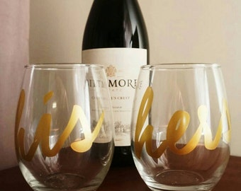 His & Hers Stemless Wine Glasses