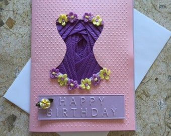 Handmade Corset Birthday card