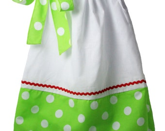 White with Green & White Polka Dots Pillowcase Dress - DIY Blanks