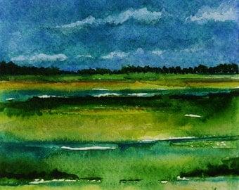 Abstract Watercolor, Minimalist Landscape, Small Watercolor, Green Landscape Art, Small Art Painting, Original Art, Fine Art Watercolor Gift
