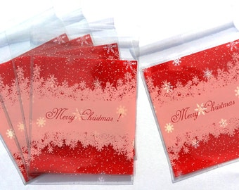 "Set of 25 transparent bags ""Merry Christmas"" Red"