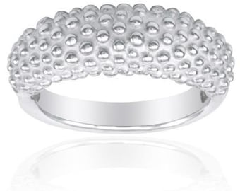 Aya's Signature Domed Beaded Band in Sterling Silver