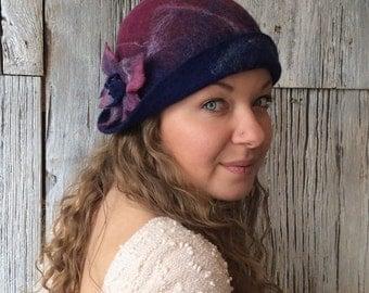 Plumeria - felt hat, wet felted hat, plum hat, plum cloche, cloche, maroon hat, felt hat for women, felt flower, flapper hat, 1920s hat