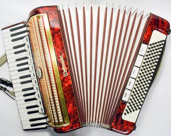 Accordion Weltmeister Piano Accordion 120 Bass Button German Acordeon Vintage Musical Instrument Accordeon Accordian with Original Case