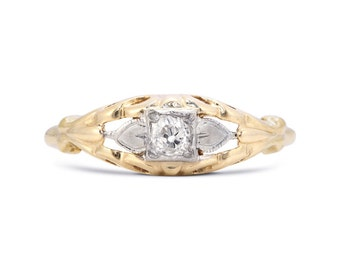 Vintage Old Mine Diamond Solitaire In 14K Yellow & White Gold