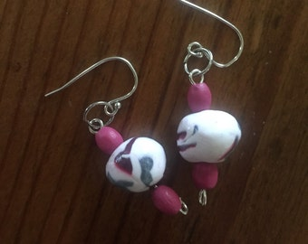 Small unique polymer bead earrings