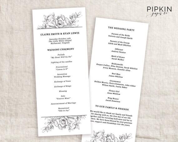 Wedding Program Template Ceremony