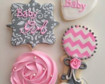 Baby Girl Roset, Chevron, Damask Shower Cookies