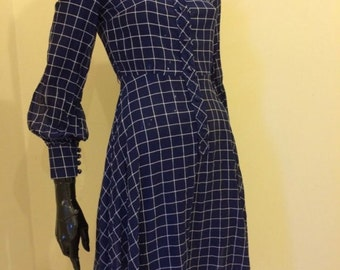 Simpson Of Piccadilly Blue White Checked Shirt Dress 1960s Vintage 8 32