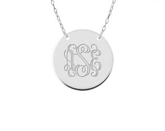 "Engravable Disc Monogram Necklace  1.5"" inch Personalized Monogram any initial  silver monogram necklace sterling silver .925 silver"