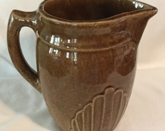 Antique Stoneware Brown Glaze Scallop Design Pitcher
