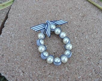 pearl ribbon stretchy bracelet