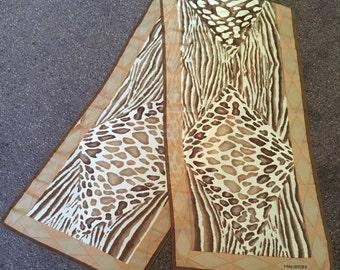VIntage Halston Brown Animal Print Ponytail or Neck Scarf