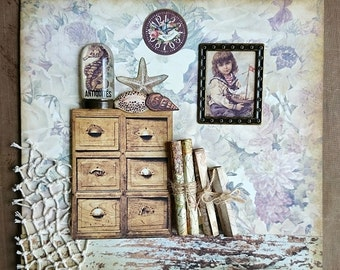 Mixed Media Collage Fisherman's Abode