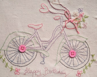 Bicycle Floral Card, Happy Birthday Card,  Can be personalised, Hand Stitched Card