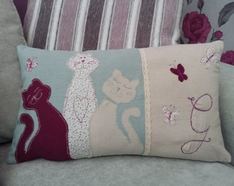 beautiful handmade personalised cat applique cushion
