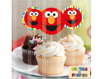 50% OFF - Elmo sesame street cupcake toppers, Elmo birthday party supplies, Elmo Cupcakes, Elmo Toppers, Elmo Face, Elmo labels