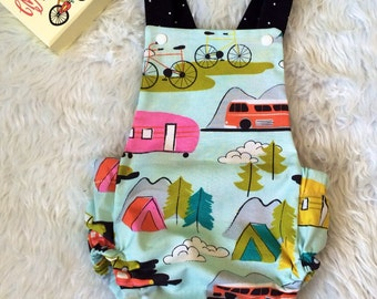 Let's go camping summer romper, baby bubble romper
