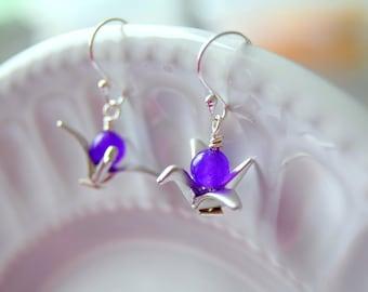 Purple Bird Earrings, Crane Bird Earrings, Silver Origami Earrings, Origami Bird Earrings, Gift for Her