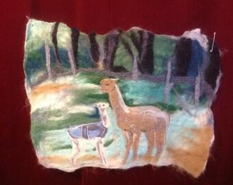 Cria kisses, wet felted wallhanging, needle felted, felted picture, alpaca gift,alpaca wallhanging,felted alpaca