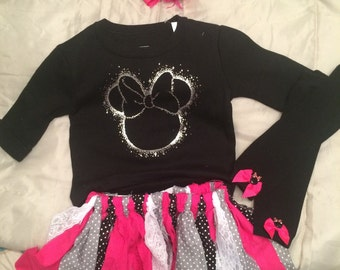 Minnie Mouse Tutu skirt and shirt with leg Warmers and Bow!