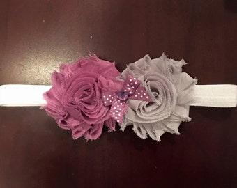 Purple and grey shabby fabric flower elastic headband