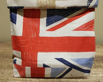 Union jack lunch bag, fabric lunch bag, cotton lunch bag, lunch bag, reusable lunch bag, gift bag.