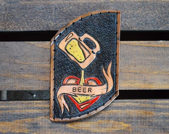 "Custom ""I love BEER"" Leather Patch"