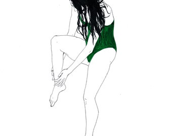 print illustration, swimmer green Jersey, woman, watercolour
