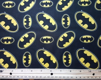 Batman Fabric, Batman Symbol, Bat Symbol, Yardage, by the yard or Fat Quarter, FQ, Bat Symbol Fabric, Comic Book Fabric, Bat Emblem