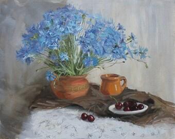 Bouquet blue flowers Original Oil still life painting Cornflower and cherry Home decor art OOAK wall art flowers Bouquet art Blue grey