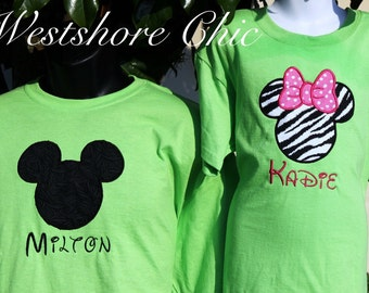 FAMILY Mouse Ears Family Disney Vacation Personalized Embroidery Applique Shirt