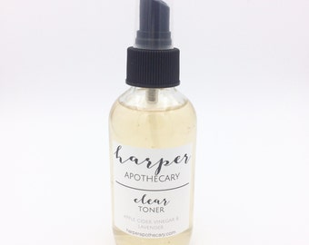 Clear Toner // Acne Toner // Organic Skin Care / Natural Facial Mist / Herbal Infused / Breakout Clearing / Oily Skin Toner / Vegan Skin