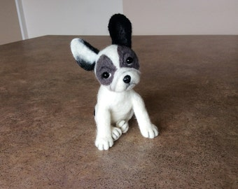 SOLD. Felted toy dog, felt natural wool toy, tiny soft sculpture miniature dog, needle felted dog,  french bulldog