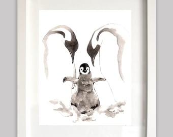 Penguin digital download, Penguin art printable, Penguin wall decor, Penguin illustration, Penguin painting, Penguin instant download