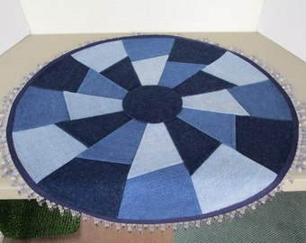 upcycled denim table mat with bead trim