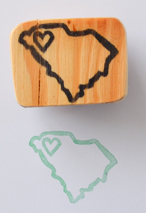 State stamp heart over your city hand carved and
