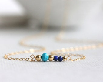 Multi Gemstone Necklace Gold Filled, Turquoise, Lapis Lazuli, Delicate Jewelry