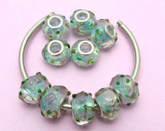 10 Transparent Glass Lampwork Beads