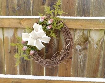 Grape Vine Wreath- pink flowers burlap ribbon