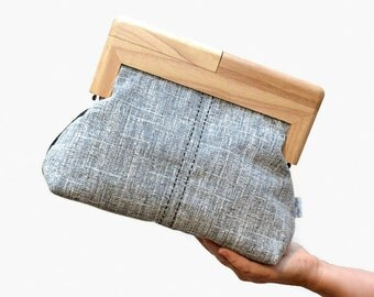 Timber Frame Clutch // Personalised, Photo Lining, Wood Purse, Woven Fabric, Present, Birthday Gift, Picture, Two Toned, Australian