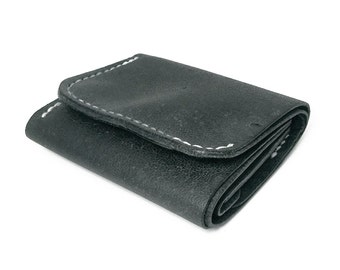 Dark Gray Tri-fold Leather Wallet with Coins Bag, Wallet in Handmade, Leather Wallet