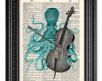 Octopus playing Cello, Octopus print, Dictionary art print, Vintage book art print, dictionary paper print, Home Wall Decor [ART 100]