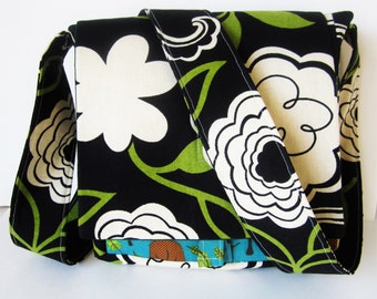 Small Canvas Messenger Bag, Crossbody Bag, Shoulder Bag, Travel Bag, Camping Purse, Flowered Bag, Geocaching Bag, Hiking Bag, Day Bag